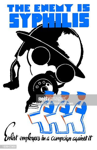 Vintage World War II poster of a soldier wearing a gas mask and men in overalls marching. It reads, The Enemy Is Syphilis - Enlist employees in a campaign against it.