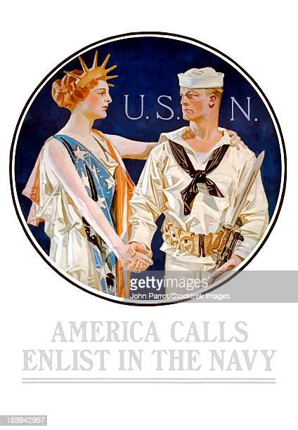 vintage world war ii poster of liberty shaking hands with a sailor. it reads, u.s.n. - america calls enlist in the navy. - liberty island stock illustrations, clip art, cartoons, & icons