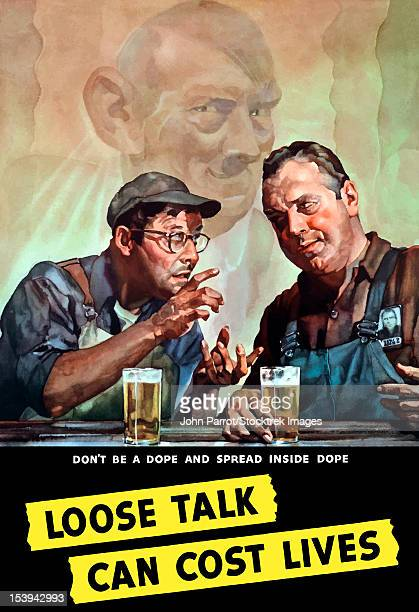 Vintage World War II poster of two men talking as Hitler listens in the background.