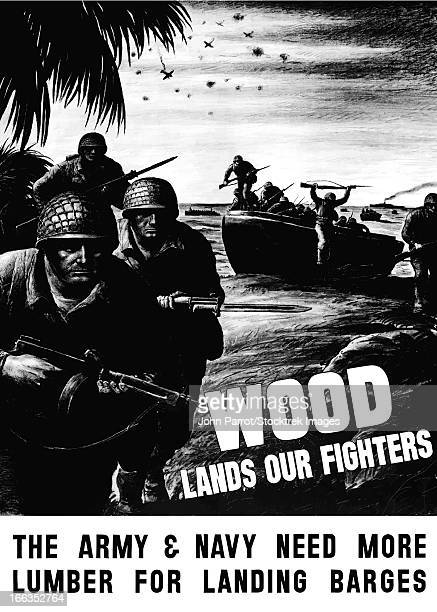 vintage world war ii poster showing combat troops assault on a beach. - bayonet stock illustrations