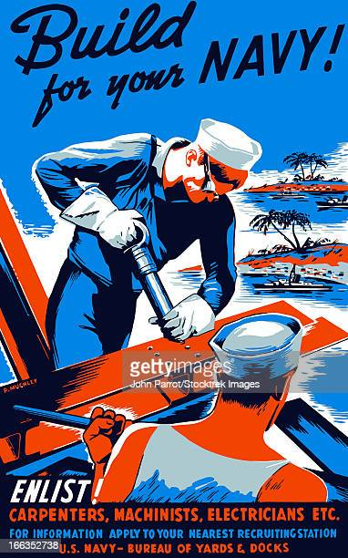 vintage world war ii poster showing two sailors building a ship. - us navy stock illustrations, clip art, cartoons, & icons