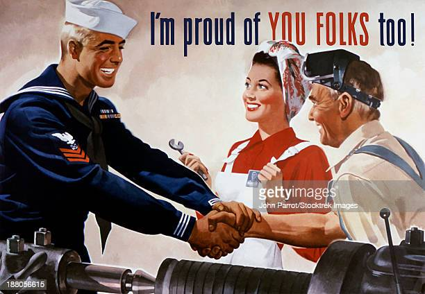 vintage world war ii propaganda poster featuring a sailor shaking hands with two factory workers. it reads, i'm proud of you folks too! - world war ii stock illustrations