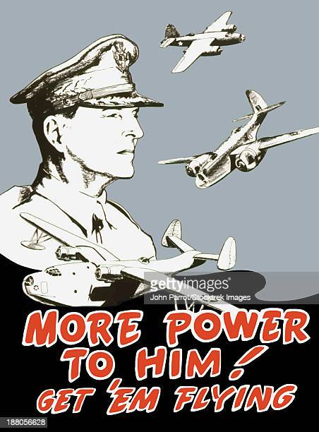 vintage world war ii propaganda poster featuring general douglas macarthur and bombers flying. it reads, more power to him! get 'em flying.  - us air force stock illustrations, clip art, cartoons, & icons