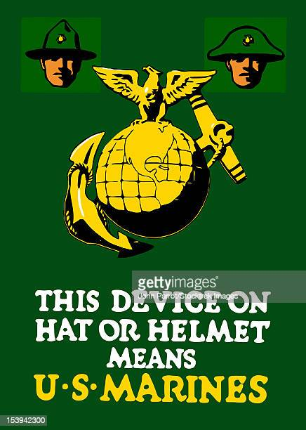 vintage world war one poster featuring the marine corps emblem; the eagle, globe, and anchor. it reads, this device on hat or helmet means u.s. marines. - us marine corps stock illustrations, clip art, cartoons, & icons
