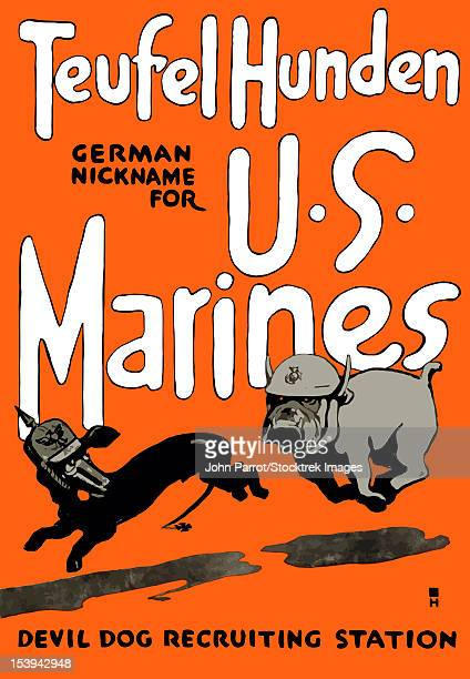 vintage world war one poster of a marine corps bulldog chasing a german dachshund. - us marine corps stock illustrations, clip art, cartoons, & icons