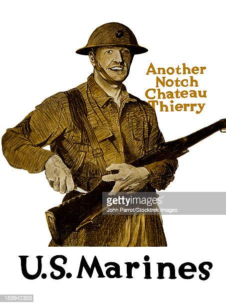 Vintage World War One poster of a smiling soldier marking notches in his rifle. It declares - Another Notch, Chateau Thierry, U.S. Marines.
