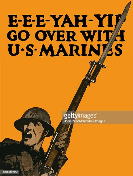 Vintage World War One poster of a soldier charging into battle with his rifle. It reads, E-E-E-YAH-YIP GO OVER WITH U.S. MARINES.