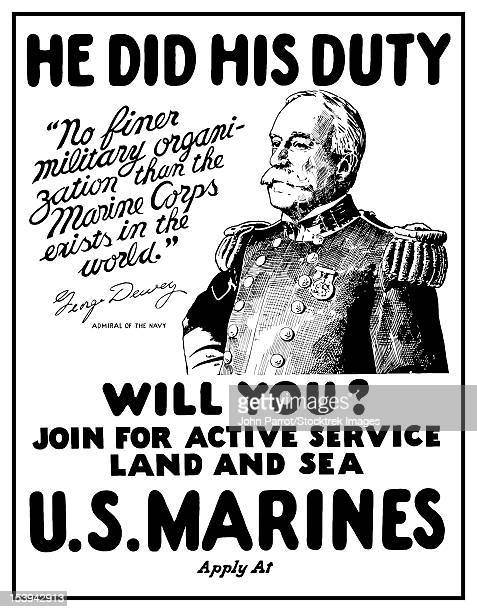 vintage world war one poster of admiral george dewey. - us marine corps stock illustrations, clip art, cartoons, & icons