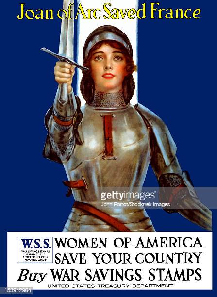vintage world war one poster of joan of arc wearing armor, raising a sword. - st. joan of arc stock illustrations