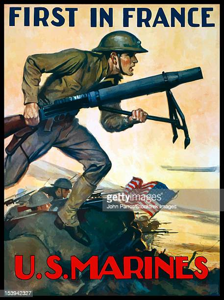 Vintage World War One poster of Marines charging into battle behind the American flag. It declares - First In France, U.S. Marines.
