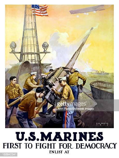 vintage world war one poster of marines firing artillery rounds, on board a ship at sea. it declares, u.s. marines, first to fight for democracy. - us marine corps stock illustrations, clip art, cartoons, & icons