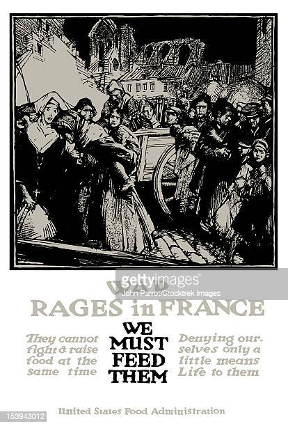 Vintage World War One poster of refugees from war torn France.