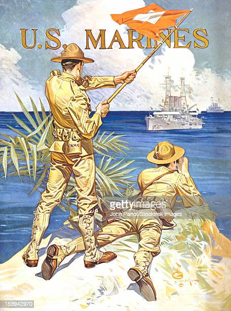 vintage world war one poster of two marines signaling a ship with a flag. it reads, u.s. marines. - us marine corps stock illustrations, clip art, cartoons, & icons