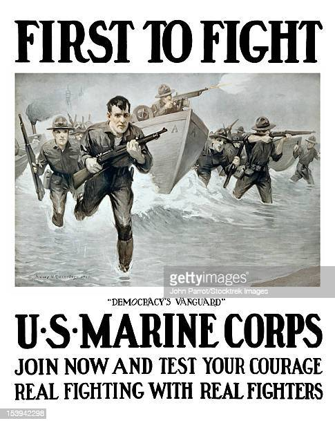 vintage world war one poster of u.s. marines storming a beach, rifles in hand. - us marine corps stock illustrations, clip art, cartoons, & icons