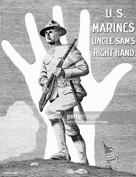 vintage world war one poster showing a marine soldier charging a hill. - us marine corps stock illustrations, clip art, cartoons, & icons