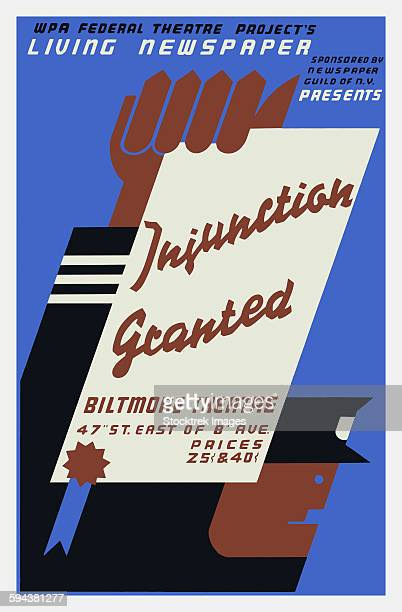 vintage wpa poster for injunction granted, a 1936 living newspaper play. - 1936 stock illustrations, clip art, cartoons, & icons