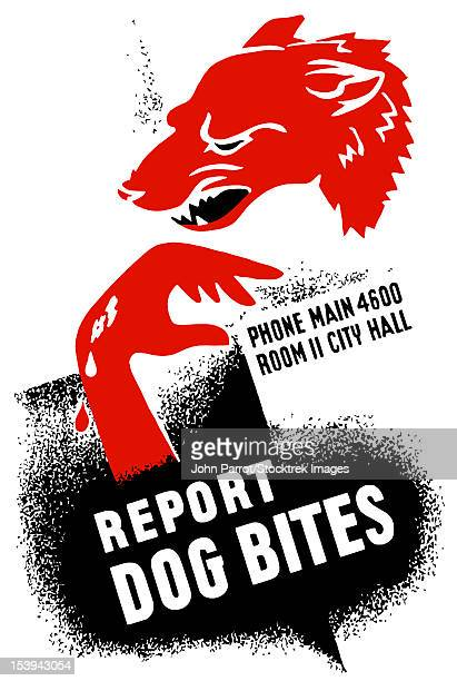 vintage wpa poster of a growling dog and a bleeding hand. it reads, report dog bites, phone main 4600 room ii city hall. - snarling stock illustrations