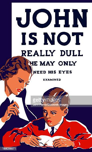 Vintage WPA propaganda poster featuring a teacher and young boy reading.