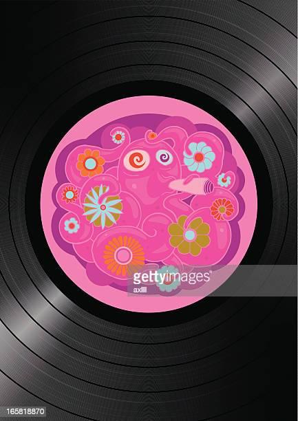 vinyl flower-power turntable