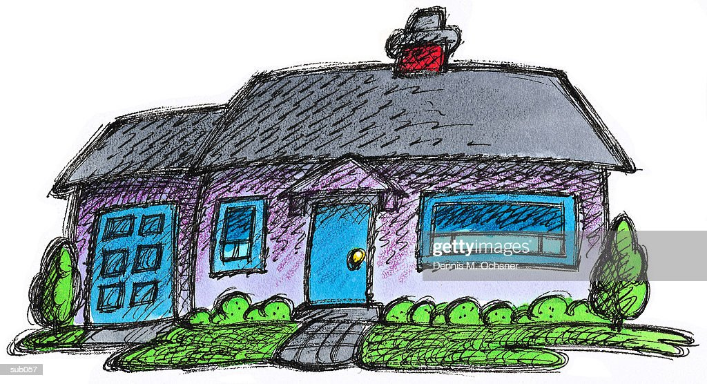 violet house with garage ストックイラストレーション getty images