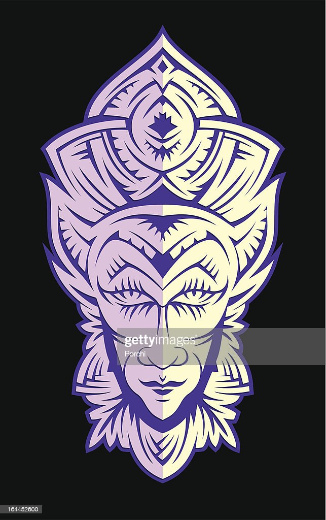 violet Male face cut out of paper