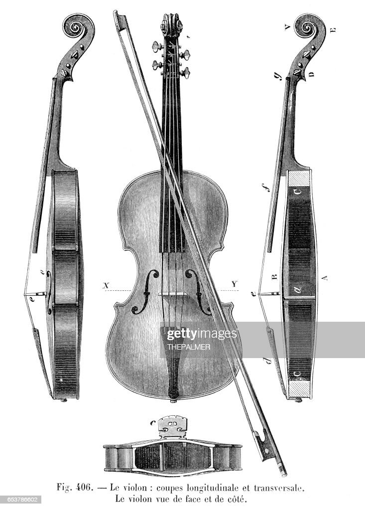 Violin Engraving 1881 stock illustration - Getty Images