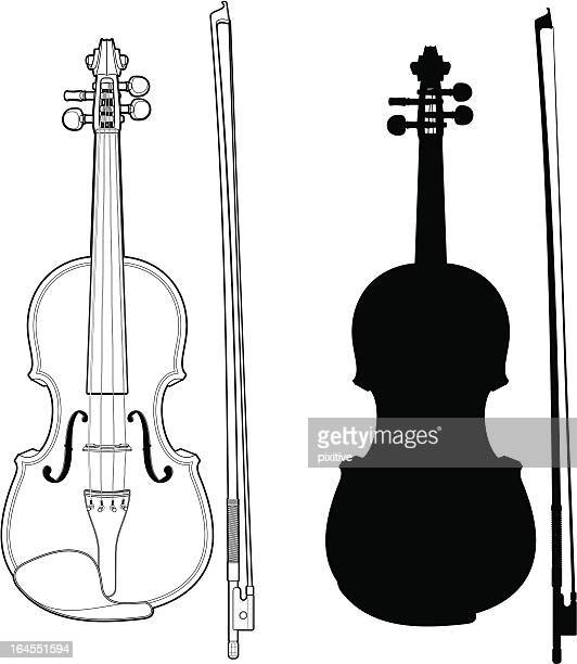 violin with bow - violin stock illustrations, clip art, cartoons, & icons