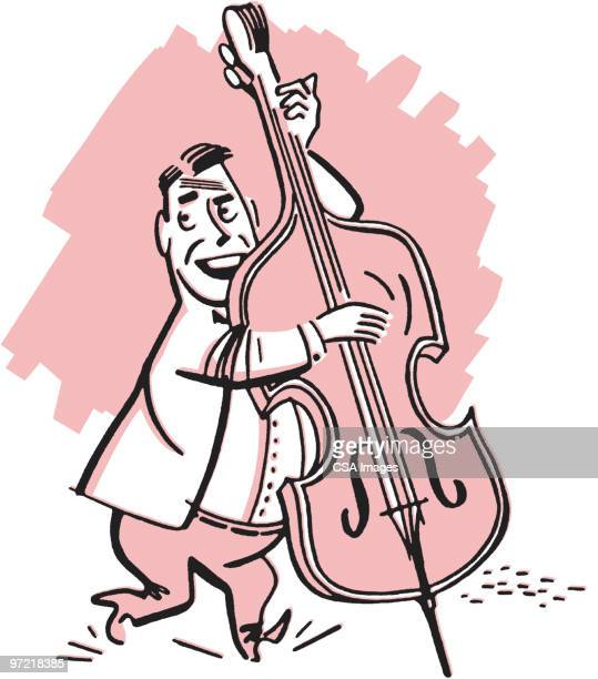 violinist - double bass stock illustrations, clip art, cartoons, & icons