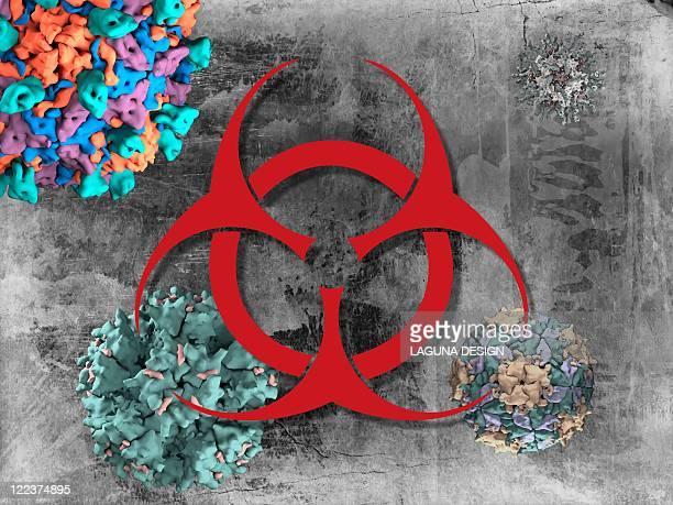 ilustraciones, imágenes clip art, dibujos animados e iconos de stock de viral pathogens, conceptual artwork - arma biológica