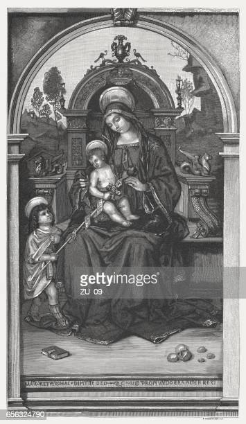 virgin and child with st john, painted by pinturicchio, perugia - high renaissance stock illustrations