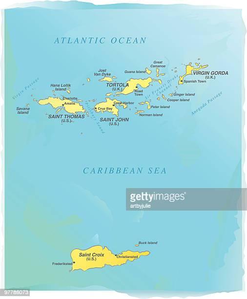 virgin islands map watercolor style