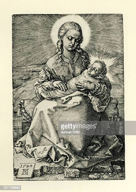virgin mary and baby jesus - baby blanket stock illustrations, clip art, cartoons, & icons