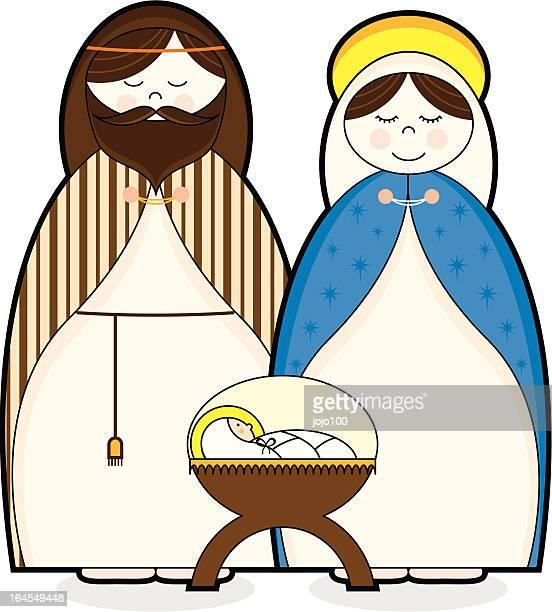 virgin mary, joseph & baby jesus character icons - baby blanket stock illustrations, clip art, cartoons, & icons