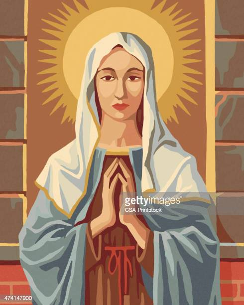 virgin mary paint by number - virgin mary stock illustrations, clip art, cartoons, & icons