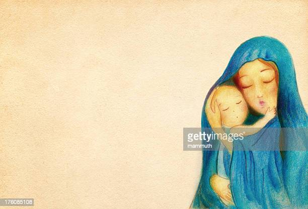 virgin mary with the child jesus - religion stock illustrations