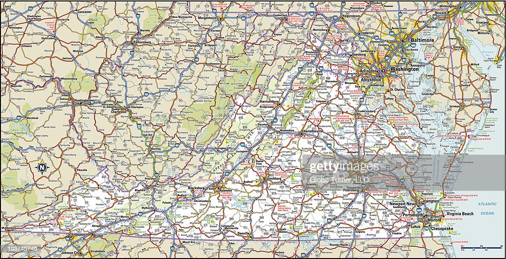 Virginia Highway Map stock vector - Getty Images