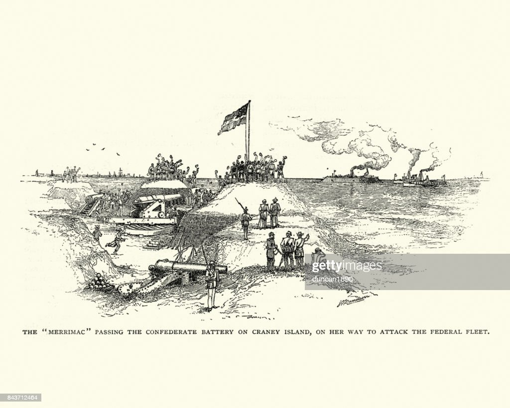 CSS Virginia passing Confederate battery on Craney Island : stock illustration