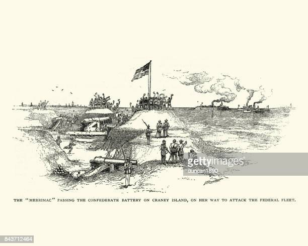 css virginia passing confederate battery on craney island - us navy stock illustrations, clip art, cartoons, & icons