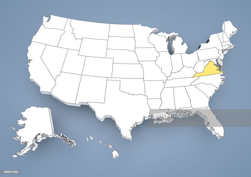 Virginia Va Highlighted On A Contour Map Of Usa United States Of