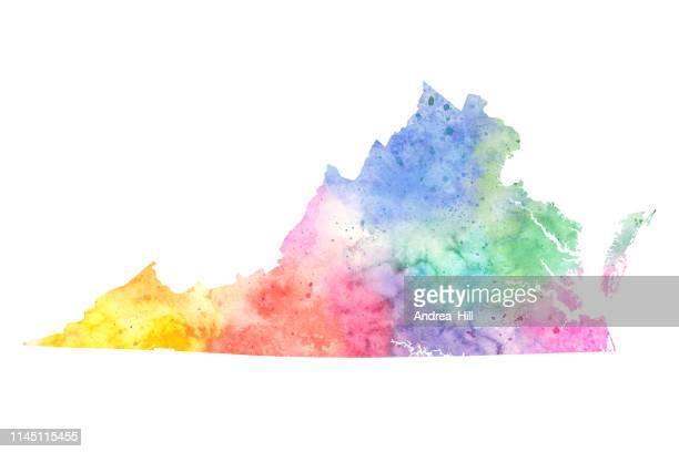 ilustrações de stock, clip art, desenhos animados e ícones de virginia watercolor raster map illustration in pastel colors - virgínia estado dos eua