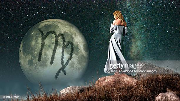 virgo is the sixth astrological sign of the zodiac. its symbol is the virgin or maiden. - milky way stock illustrations