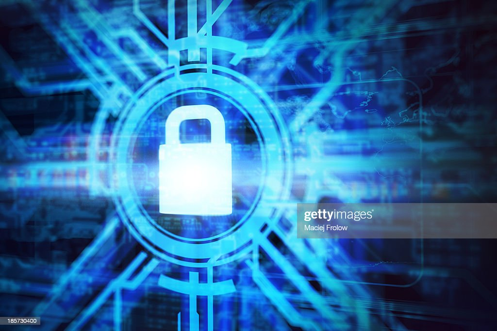 Virtual padlock symbol with computer network : stock illustration