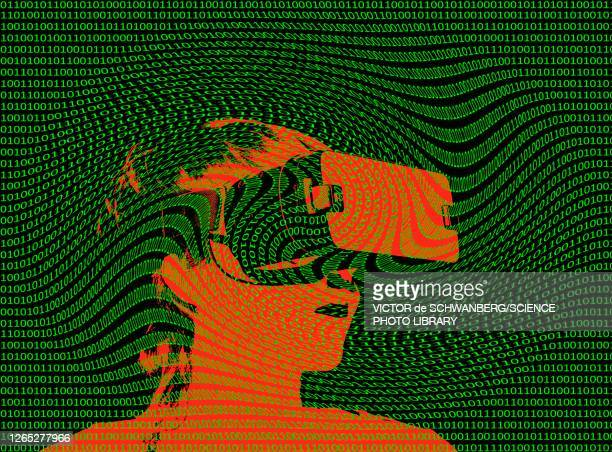 virtual reality, conceptual illustration - adult stock illustrations