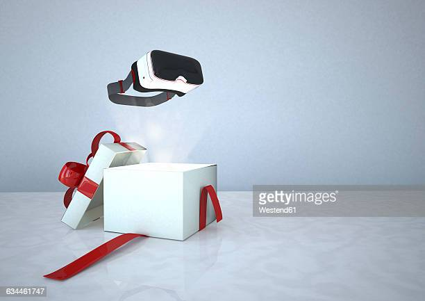 ilustraciones, imágenes clip art, dibujos animados e iconos de stock de virtual reality glasses and opened gift box - caja de regalo
