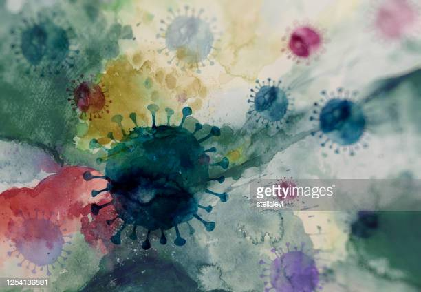virus cells background and viral infection - stellalevi stock illustrations