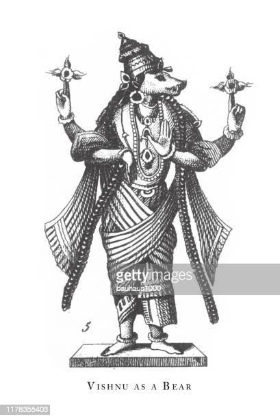 ilustrações de stock, clip art, desenhos animados e ícones de vishnu as a bear, hindu and buddhist religious symbols and religious implements engraving antique illustration, published 1851 - linda rama