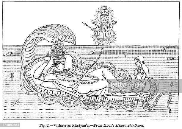 vishnu as narayana - hindu god stock illustrations