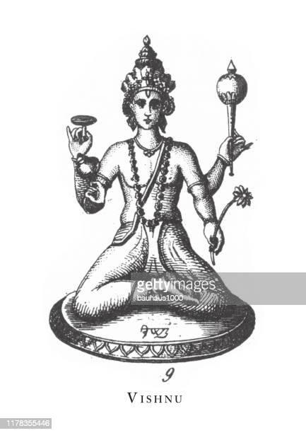 ilustrações de stock, clip art, desenhos animados e ícones de vishnu, hindu and buddhist religious symbols and religious implements engraving antique illustration, published 1851 - linda rama
