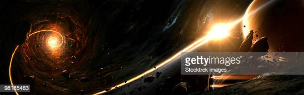 vision of a black hole destroying a sun. - black hole stock illustrations