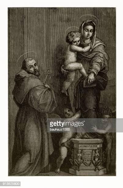 Visie van Augustinus christelijke symboliek gravure